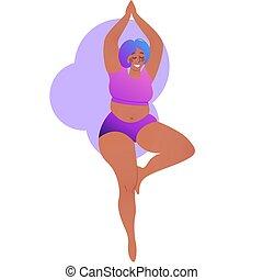 américain, pose, class., séduisant, positive., dame, white., illustration, isolé, corps, plus, yoga, taille, vecteur, woman., arbre, curvy, vrksansana., africaine, noir