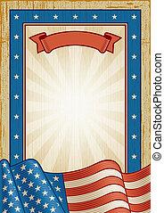 américain, retro, cadre