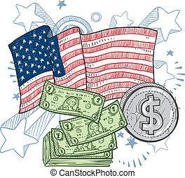 américain, richesse, croquis
