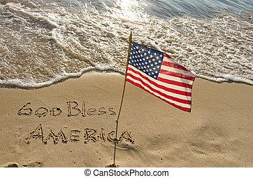 américain, rivage, drapeau