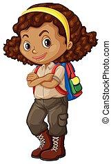 américain, sac à dos, girl, africaine