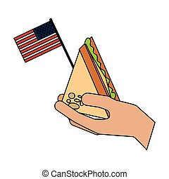 américain, sandwich, drapeau, tenant main