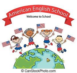 américain, sauter, drapeaux, enfants, tenue