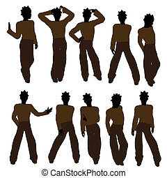 américain, silhouette, adolescent, illustration, africaine