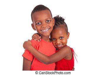 américain, soeur, frère, ensemble, africaine