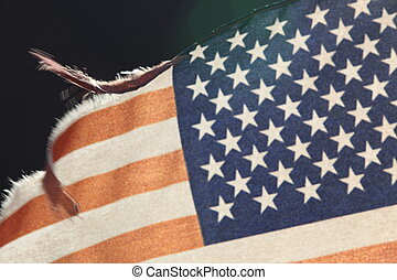 américain, soir, drapeau