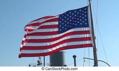 américain, souffler, drapeau, vent