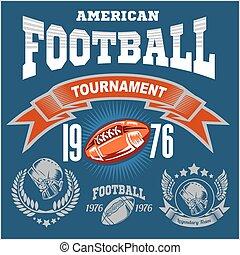 américain, sport, logo., football
