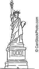américain, statue, liberté