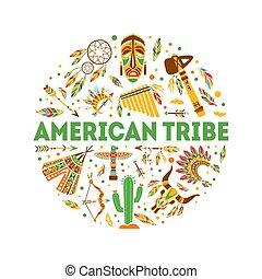 américain, symboles, gabarit, rond, illustration, ethnique, bannière, tribu, forme, vecteur, indigène