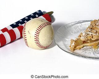 américain, tarte, baseball-as, pomme