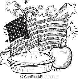 américain, tarte, pomme