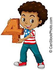 américain, tenue, math, garçon, quatre, nombre