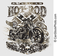 américain, tige, chaud, motocyclette