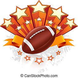 américain, vecteur, emblème, football