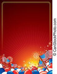 américain, vecteur, fond, célébration