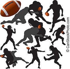 américain, vecteur, silhouette, football