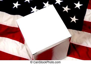 américain, vide, drapeau, boîte, blanc