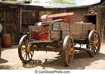 américain, vieux, classique, charrette