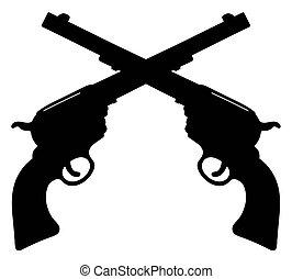 américain, vieux, pistolets