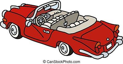 américain, vieux, rouges, cabriolet