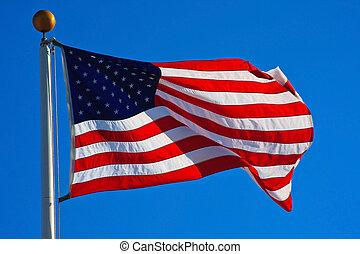 américain, voler, drapeau