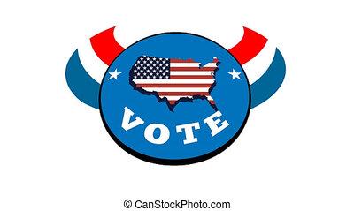 américain, vote, élection, main