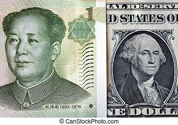 américain, yuan, dollar, chinois