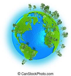 américas, europa, y, áfrica, en, tierra de planeta