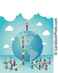 américas, social, crecimiento, redes, gente