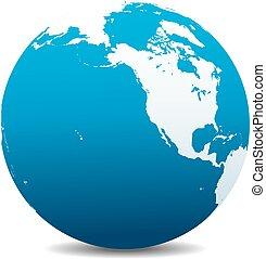 amérique, canada, globe, nord, mondiale