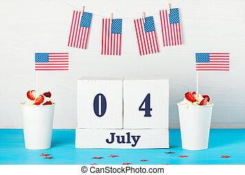 amérique, carte, salutation, jour indépendance