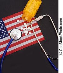 amérique, cout, etats, monde médical, uni, prescroption, pilules, assurance, stetoscope/