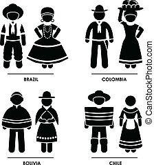amérique, habillement, déguisement, sud