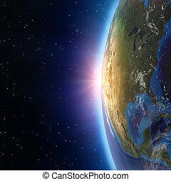 amérique nord, coucher soleil, depuis, espace