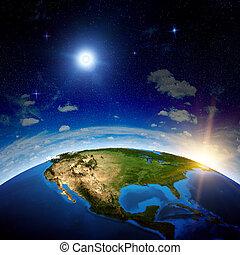 amérique nord, depuis, espace
