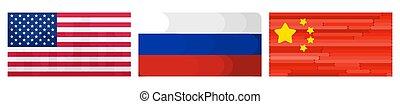 amérique, russie, drapeaux, leaders., mondiale, porcelaine