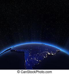 amérique sud, lumières ville, soir