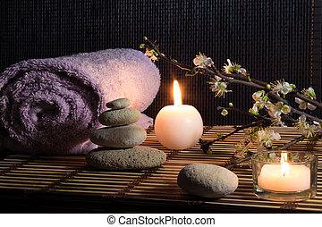 amêndoa, com, flores, zen, pedras