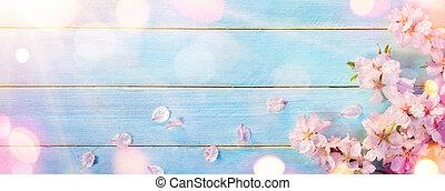 amêndoa, flor, ligado, azul, tabela madeira