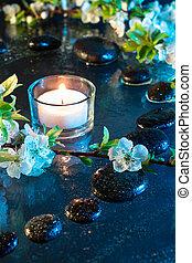 amêndoa, flores, com, pretas, pedras