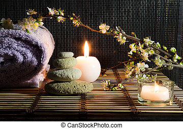 amêndoa, flores, com, zen, pedras