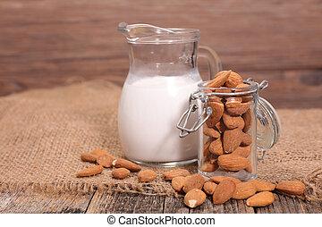 amêndoa, leite