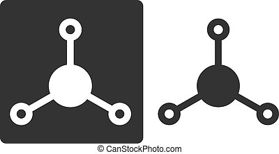 amônia, (nh3), molécula, apartamento, ícone, style., átomos,...