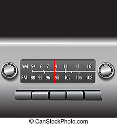 AM FM Car Dashboard Radio Tuner with red station indicator. ...