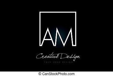 AM Square Frame Letter Logo Design with Black and White Colors.