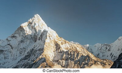 Ama Dablam (6856m) peak near the village of Dingboche in the Khumbu area of Nepal, on the hiking trail leading to the Everest base camp.
