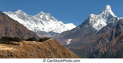 Ama Dablam and Lhotse with stupa