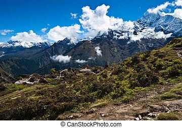 Ama Dablam and Thamserku peaks: Himalaya landscape