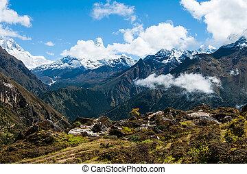 ama, dablam, e, lhotse, peaks:, himalaya, paisagem